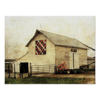 Red, White, and Blue Barn Quilt Poster
