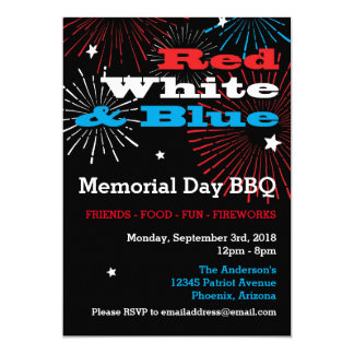 Red White and Blue Memorial Day BBQ Card