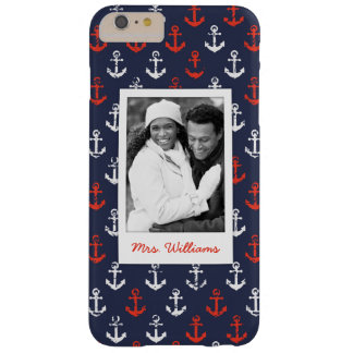 Red White And Blue Pattern | Your Photo & Name Barely There iPhone 6 Plus Case