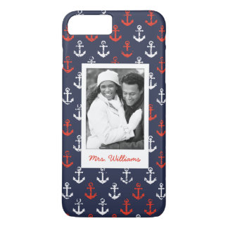 Red White And Blue Pattern | Your Photo & Name iPhone 7 Plus Case