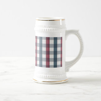 Red White and Blue Plaid Pattern Mugs
