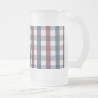 Red White and Blue Plaid Pattern Frosted Beer Mugs
