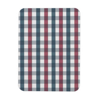 Red White and Blue Plaid Pattern Rectangular Magnets