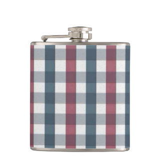 Red White and Blue Plaid Pattern Hip Flasks