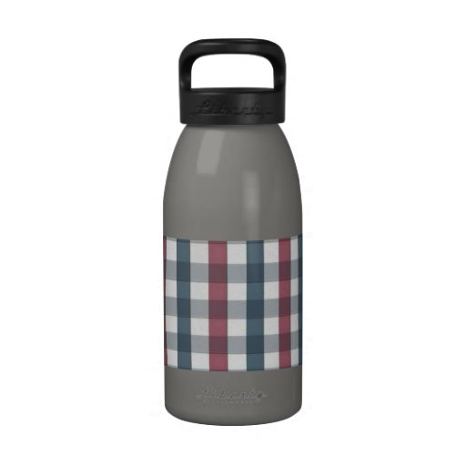 Red White and Blue Plaid Pattern Water Bottle
