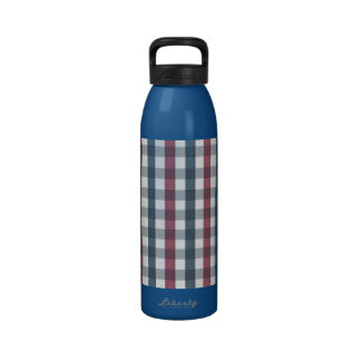 Red White and Blue Plaid Pattern Reusable Water Bottles