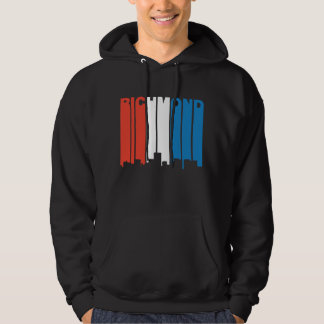 Red White And Blue Richmond Virginia Skyline Hoodie