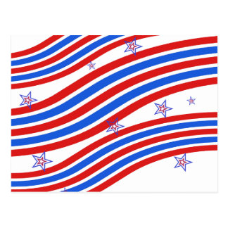 Red White and Blue Stripes and Star Postcard