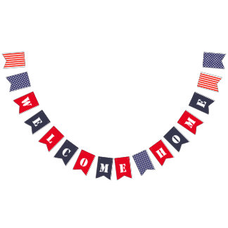 Red White and Blue Welcome Home Bunting