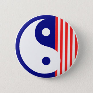 Red White and Blue Yin Yang Button