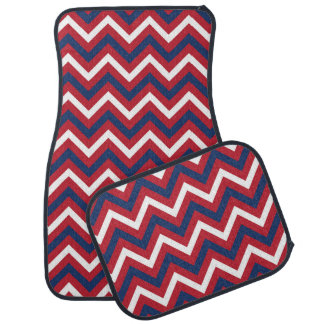 Red, White, and Blue Zigzag Pattern Floor Mat