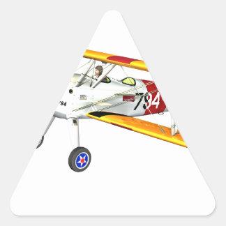 Red White and Yellow Military Training Biplane Triangle Sticker