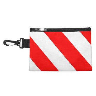 Red White Attention Warning Stripes Accessory Bag