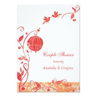 Red + White Bird Cage Birds Wedding Couples Shower 13 Cm X 18 Cm Invitation Card