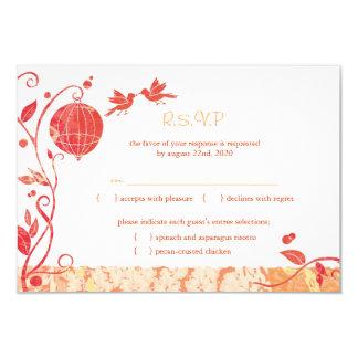 Red, White Bird Theme Wedding RSVP (3.5x5) 3.5x5 Paper Invitation Card
