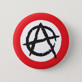 Red, White & Black Anarchy Flag Sign Symbol 6 Cm Round Badge