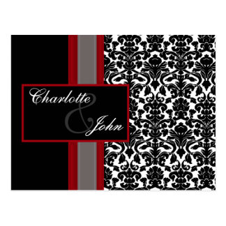 Red White Black Damask Wedding Invitations Postcard