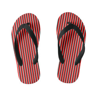 Red White Black Stripes Sandals