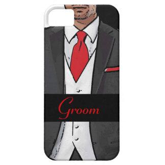 Red white black tuxedo groom iphone 5 case