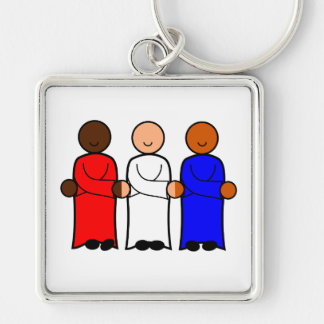 Red White Blue American Figures Unity Togetherness Key Ring