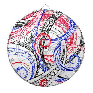 Red White Blue Curley Zen Doodle Design Dartboard