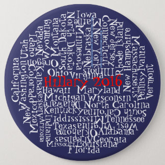 Red, White, Blue, Hillary Clinton 2016 50 States 1 6 Cm Round Badge