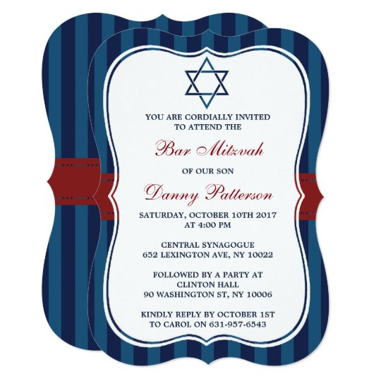 Red, White & Blue Jewish Star Of David Bar Mitzvah Card