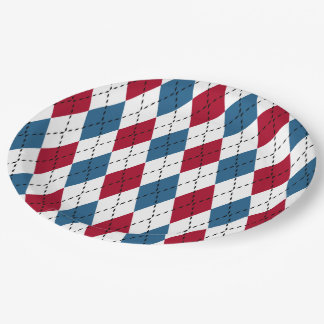 Red White & Blue Patriotic Argyle Paper Plate
