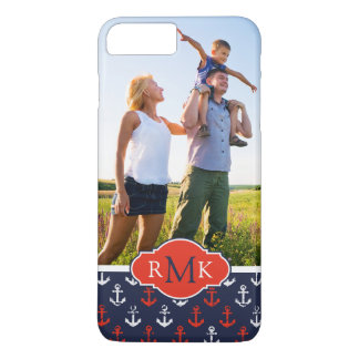 Red White & Blue Pattern| Your Photo & Monogram iPhone 8 Plus/7 Plus Case