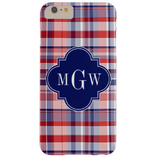 Red White Blue Preppy Madras Monogram Barely There iPhone 6 Plus Case