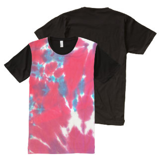 Red, White, & Blue Tie Dye All-Over Print T-Shirt