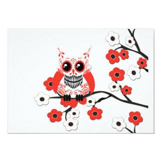 Red White Cherry Blossom Owl Invitation
