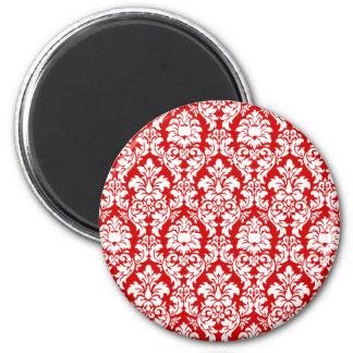 Red & White Damask 6 Cm Round Magnet