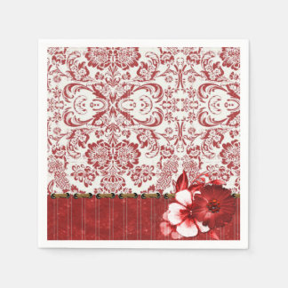 Red White Damask Pattern Art Paper Napkin