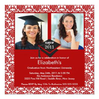 Red & White Damask Photo Graduation Invitation