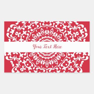 Red White Elegant Classy Lace Personalised Rectangular Sticker