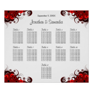 Red & White Floral 11 Wedding Tables Seating Chart Poster