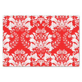 Red & White Floral Damask Pattern Tissue Paper