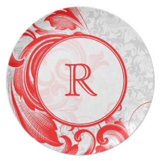 Red & White Floral Damasks & Swirls Party Plate