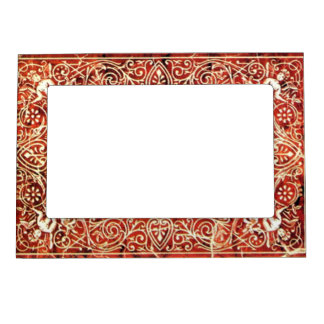 RED WHITE FLORAL SWIRLS AND ANGELS MAGNETIC FRAME