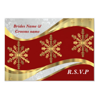 Red white & gold damask christmas 3.5x5 paper invitation card