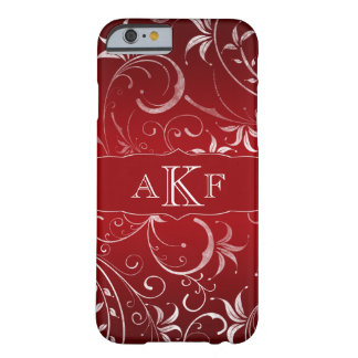 Red White Grunge Floral Damask Monogram iPhone Barely There iPhone 6 Case