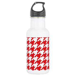 Red & White Houndstooth Pattern 532 Ml Water Bottle