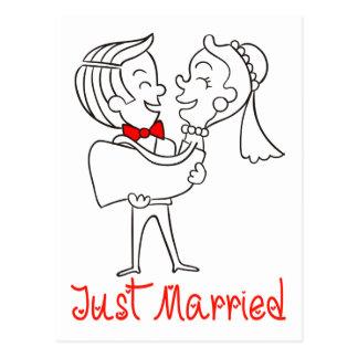 Red & White Just Married Bride & Groom Wedding Postcard