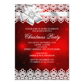 Red & White Lace Bow Christmas Party Invite