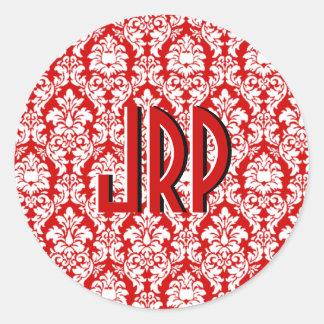 Red White Monogrammed Damask Round Sticker