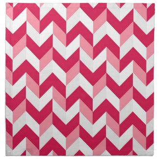 Red White Pink Herringbone Chevron Zigzag Pattern Printed Napkin