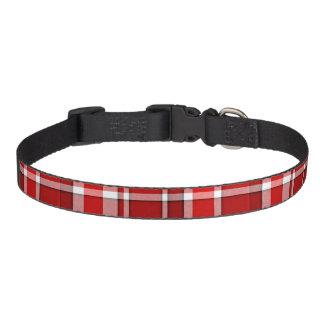 Red White Plaid Tartan Pet Collar