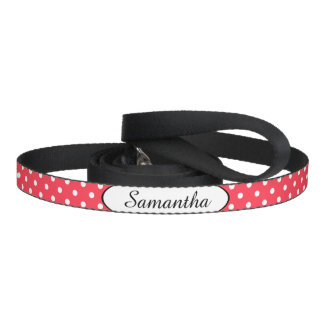 Red White Polka Dot Personalised Dog Leash