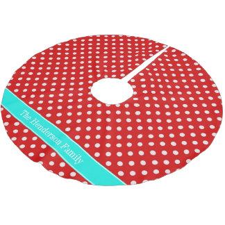 Red White Polka Dots Bright Aqua Name Monogram Brushed Polyester Tree Skirt